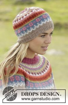 """Stavanger - Set consists of: Knitted DROPS jumper worked top down with round yoke and multi-coloured pattern on yoke in """"Alpaca"""". Hat with multi-coloured pattern in """"Alpaca"""". Size: S - XXXL. - Free pattern by DROPS Design Fair Isle Knitting Patterns, Jumper Patterns, Fair Isle Pattern, Knitting Designs, Crochet Patterns, Drops Design, Bonnet Crochet, Knit Crochet, Crochet Hats"""