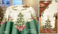 Embroidered Christmas Holly Tree Table Linen Holly Tree, Tree Table, Collections Etc, Online Gifts, Table Linens, Table Runners, Applique, Meditation, Kimono Top