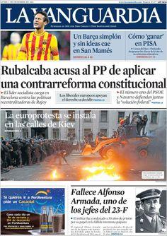 Los Titulares y Portadas de Noticias Destacadas Españolas del 2 de Diciembre de 2013 del Diario La Vanguardia ¿Que le pareció esta Portada de este Diario Español?