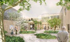 Gardens - Elderly centre in Örebro Healthcare Architecture, Green Architecture, Healthcare Design, Sustainable Architecture, Landscape Architecture, Landscape Design, Architecture Design, Residence Senior, Co Housing