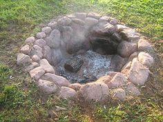 natural rock firepit