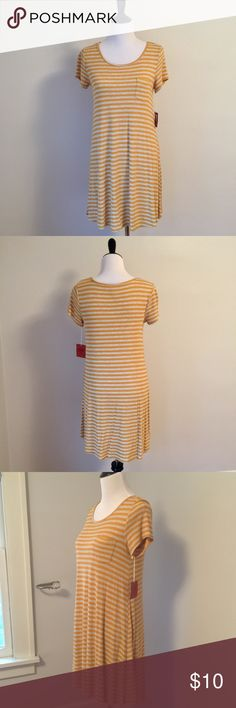 "Mossimo Supply Co.▪️Striped T-Shirt Dress Cute and casual!  Gold and grey striped t-shirt dress.  Fit & flare shape.  Front length 29 1/2"", Back length 33"".  Cotton with stretch.  Size M.  New with tags, no imperfections.  Comes from a smoke-free home. Mossimo Supply Co. Dresses"