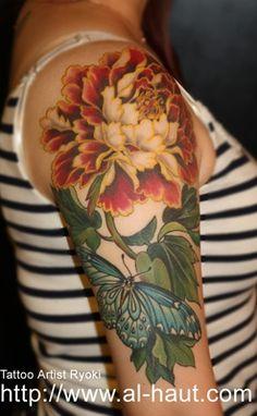 タトゥーアート Al-Haut(アルハウト)〜大阪タトゥーアーティスト椋妃〜. Ryoki Tattoo. Berlin. Beautiful flower.
