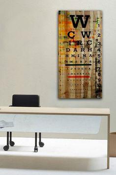 Brown distressed wood Eye Chart wall art
