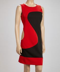 Another great find on #zulily! Red & Black Wave Color Block Sleeveless Dress #zulilyfinds