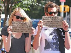 Andrew Garfield and Emma Stone using the Paparazzi for good :) I love them so much.
