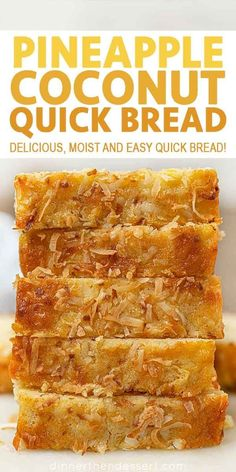 is an easy quick bread that's rich and moist with the flavors of the tropics that's perfect for dessert or breakfast! Coconut Bread is an easy quick bread that's rich and moist with the flavors of the tropics that's perfect for dessert or breakfast! Pineapple Coconut Bread, Coconut Quick Bread, Quick Bread Recipes, Sweet Recipes, Baking Recipes, Coconut Bread Recipe, Recipe For Sweet Breads, Pina Colada Bread Recipe, Hawaiian Banana Bread Recipe