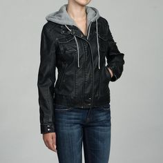 leather jacket with hood. IT HAS A HOOD!!!!! MUST HAVE NOW!! Or just a jacket with a hoodie underneath
