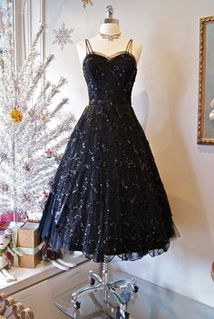 Vintage 1950's Couture Harvey Berin French Lace Black Dress