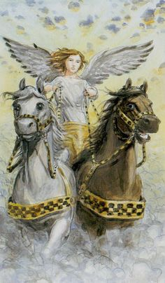 Tarot of the Angels - The Chariot - Meaning that two areas of your life need to be harnessed and pulled together.  The chariot tells you to take contol of your life and be the driving force....... It on a practical level can mean that you or someone around you my learn to drive, change their car or transport will be an important focus for a while.
