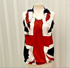 Womens Union Jack Halter Top Ruffled Halter Top by CandyStickLane, $34.99