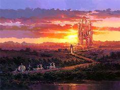 Cinderella - Castle at Sunset - Rodel Gonzalez - World-Wide-Art.com