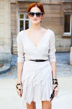 White wrap dress + skinny black belt