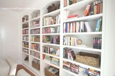 Library with White Painted Built-In Bookshelves (ideas for bookshelf style)