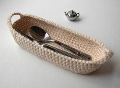 Cotton Basket Crochet natural white by LaceGiraffe on Etsy, $11.00 #etsysns #handmadebot #boebot
