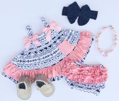 Navy White Aztec with Pink Ruffle Swing Top Set #boutique-outfits #new #newborn-clothing #perfect-sets