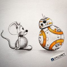 Cute Illustrations of a Unique Cartoon Mouse Interacting With Other Pop Culture Characters