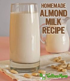 Make this delicious creamy almond milk recipe at home without fillers or additives. Sweetener optional, dairy-free, paleo, vegan and kid-approved! Organic Homemade, How To Make Homemade, Organic Recipes, Organic Almond Milk, Make Almond Milk, Almond Milk Recipes, Homemade Almond Milk, Almond Flour, Cashew Milk