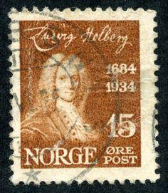 """Norway 1934 Scott 159 15ø brown """"Ludvig Holberg"""""""