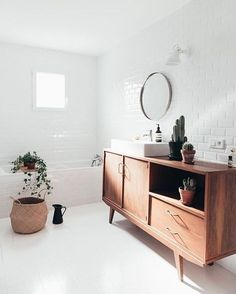 "interior-design-home: ""Are White Walls the Ultimate Decorating Secret Weapon? Bathroom Furniture, Bathroom Interior, Modern Bathroom, Small Bathroom, Ikea Furniture, White Bathroom, Vintage Furniture, Bathroom Ideas, Bathroom Vintage"