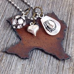 I Love TEXAS Necklace Rustic Hand Cut by DuctTapeAndDenim, $23.00 #texas #stateoutlinenecklace #statejewelry #necklace #rustic #recycled #metal #state #pendant #cowboyhat #cowboyboots #heart #charms #rhinestones #texasjewelry #don'tmesswithtexas