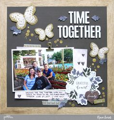 Create a letter board inspired scrapbooking layout with this Time Together Layout by @reneezwirek using the #HeartOfHome collection by @pebblesinc and @Tatertots and Jello .com #sponsored