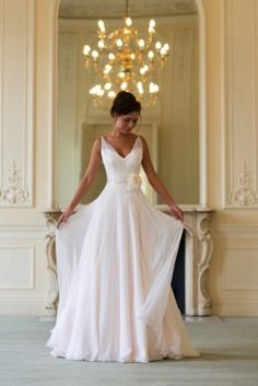 2015 Wedding Dresses A Line V-Neck Sashes Flower Chiffon Bridal Gowns greek wedding gown
