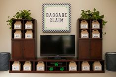 Baggage Claim - what an adorable way to display party favors at a train-themed party!