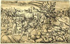 July: haymaking scene in a landscape, with people resting on the right.  c.1580  Woodcut