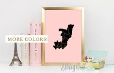 Congo map print african art modern wall art gold pink black map Congo print Congo art gold pink and black home decor travel poster african