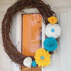 felt flower spring wreath...