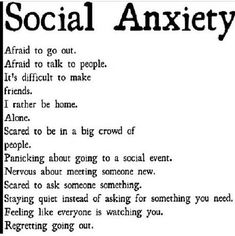 All of us suffer from anxiety at some point in our lives, since it is a natural human reaction to stress. Choosing a natural anxiety treatment is important. Social Anxiety Disorder, Mental Disorders, Quotes About Social Anxiety, Social Disorders, Anxiety Humor, Sad Quotes, Life Quotes, Inspirational Quotes, Anxious Quotes