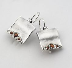 Special Garnet 925 Silver Earrings With Red Stone