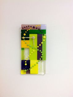 Mardi Party Fused Glass Clock by JanuaryMayDesigns on Etsy