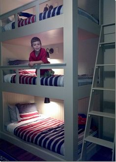 Furniture And Decorating Ideas The Adventures of the York Family Seven: Triple Bunk Bed Trends in Fu Bunk Beds For Boys Room, Bunk Rooms, Cool Bunk Beds, Bunk Beds With Stairs, Kid Beds, Bedrooms, Boy Room, Kids Bedroom Designs, Bunk Bed Designs