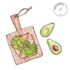 Good objects - Saturday's brunch #avotoast #goodobjects #illustration #avocado #watercolor