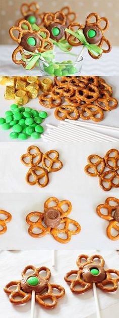 Shamrock Pretzel Pops  Pretzels Green M & M's Rolos Sucker sticks  Line baking sheet with wax paper. Preheat oven to 325 Arrange pretzels on paper as show in photo. Put a rolo in the center. Place in oven for only a couple of minutes to melt the rolo. Remove once melted, push a sucker stick in chocolate (could forfeit the sucker stick and use pretzel rods for completely edible treat!) Place m&m in middle of rolo and press down into chocolate. Allow chocolate to harden.