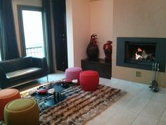 lounge area with the fireplace during the winter time!!