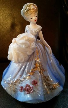Josef Originals Vintage Music Box Girl in Blue Dress Holding feathered fan.
