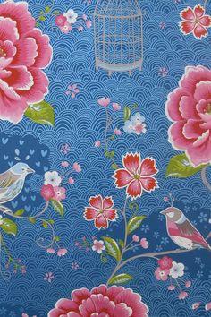 Afbeelding van Birds in Paradise behang donkerblauw