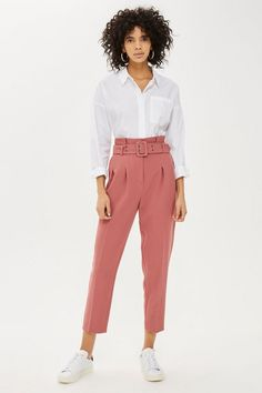 6b2e98329952ba Lyst - Topshop Tall Belted Eyelet Peg Trousers in Pink
