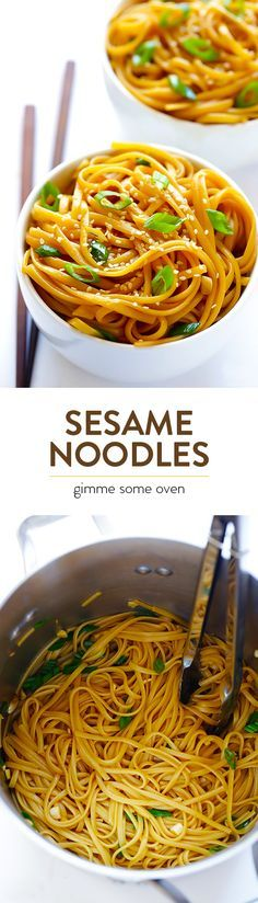 Sesame Noodles -- a super quick and easy to make that's always delicious!  Perfect as a side dish, or add in your favorite protein or veggies to make this a main course. | gimmesomeoven