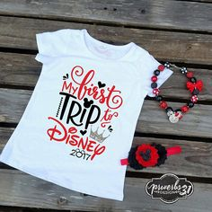 First trip to disney - girl's fit shirt disneyland shirts, first disneyland, disney world First Disneyland, Disneyland Shirts, Disney World Shirts, Disney Shirts For Family, Disney World Trip, Disney Vacations, Disney Cruise, Disney Family, Walt Disney