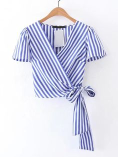 Cheap tie short sleeve shirt, Buy Quality women blouses directly from China shirt lady Suppliers: Summer white blue striped cross V neck crop tops women blouses 2017 bow tie short sleeve shirts ladies casual tops blusas Diy Fashion, Ideias Fashion, Fashion Outfits, Dress Fashion, Fashion Fashion, Trendy Fashion, Mode Outfits, Casual Outfits, Short Sleeve Collared Shirts