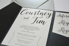 Classic black & white pocket wedding invitations by Something Printed