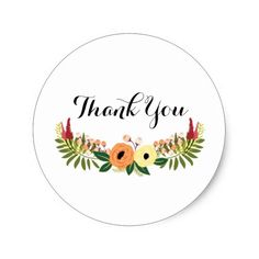 Thank You Floral Wreath Stickers
