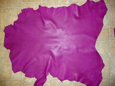 "Purple / Fuchsia Finished Goatskin Leather 5.5 sq ft  28""x22"" 2.5 oz/ 1mm Goat hide (K) PeggySueAlso"
