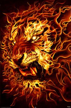 fire artwork | Fire Lion Art Print, Horror Posters | Motivational - College Art ...
