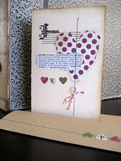 Similar technique with a heart, stamp, stitching and a little ephemera [by Lucky Day girls]