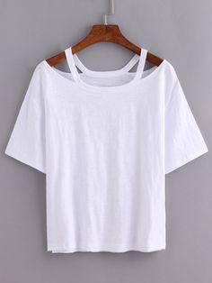 Cutout Loose-Fit White T-shirt